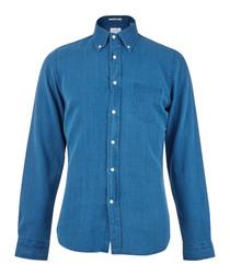 Indigo pure cotton long sleeve shirt