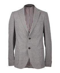 Grey melange cotton blend blazer