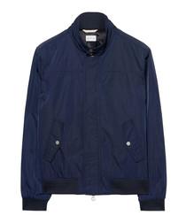 Evening blue cotton blend bomber jacket