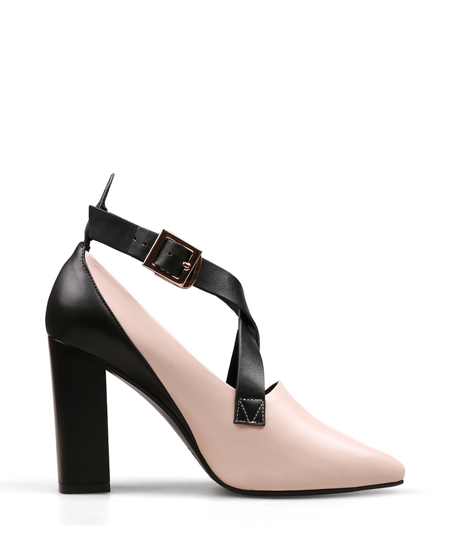 8c3655c7e02a Pink   black leather strap heels Sale - Jady Rose ...