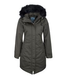 Women's olive cotton blend hooded coat