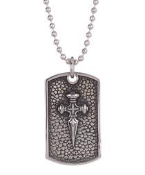 Silver-tone steel sword necklace
