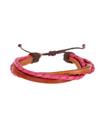 Red & brown leather layered bracelet