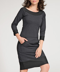 Graphite melange cotton blend midi dress