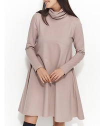 Cappuccino cotton blend roll neck dress