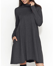 Graphite cotton blend roll neck dress
