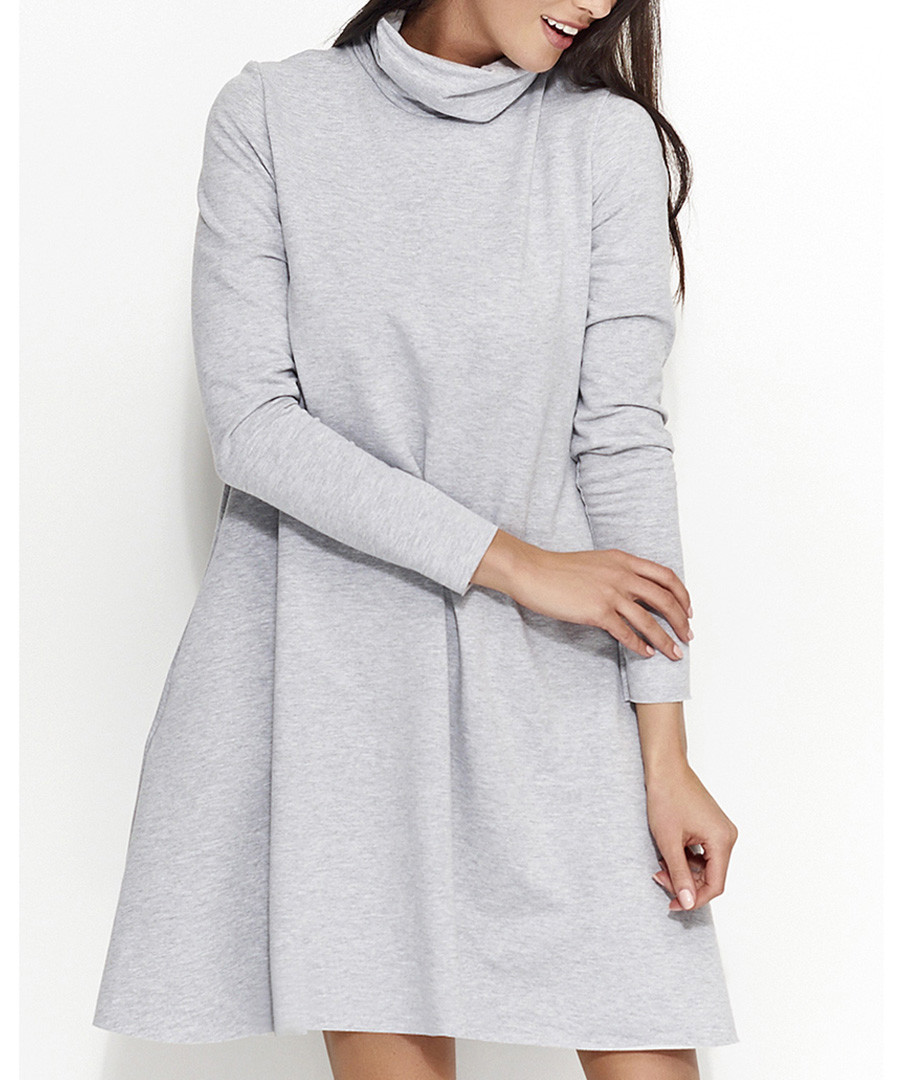 Grey cotton blend roll neck dress Sale - numinou