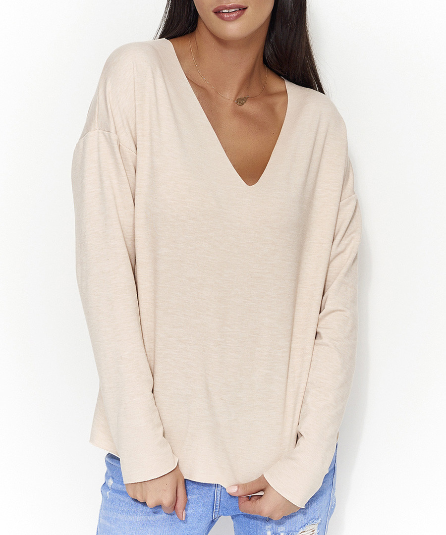 Nude cotton blend long sleeve top Sale - numinou