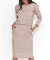 Cappuccino cotton blend midi dress