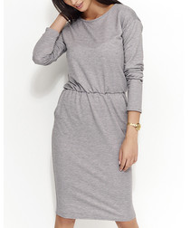 Grey cotton blend midi dress