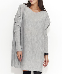 Light grey long sleeve shift dress