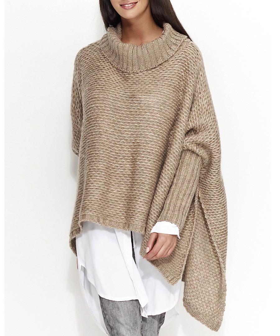 Cappuccino wool blend roll neck jumper Sale - numinou