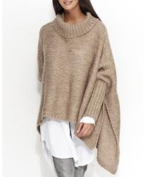Cappuccino wool blend roll neck jumper