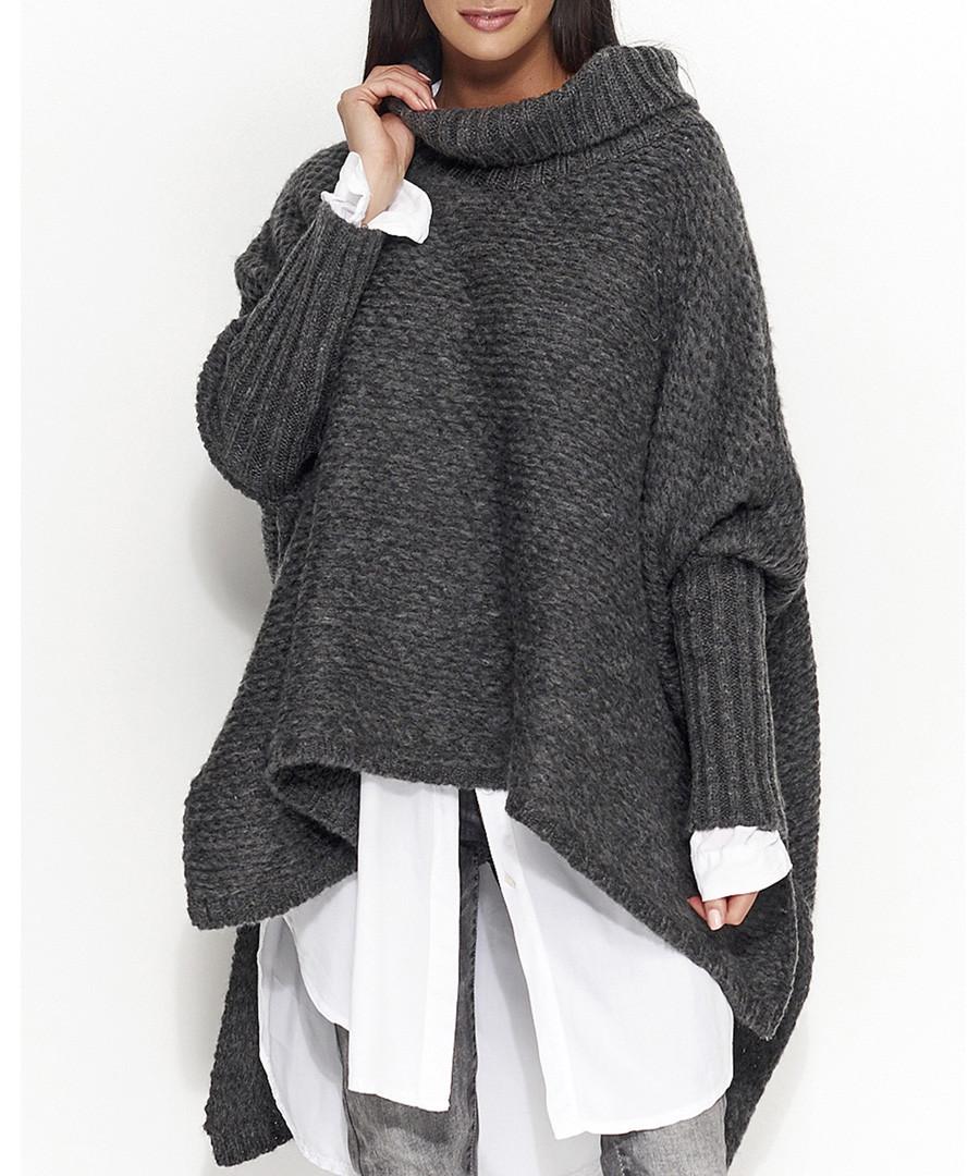 Graphite wool blend roll neck jumper Sale - numinou