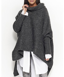 Graphite wool blend roll neck jumper