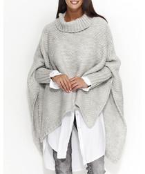 Light grey wool blend high neck jumper