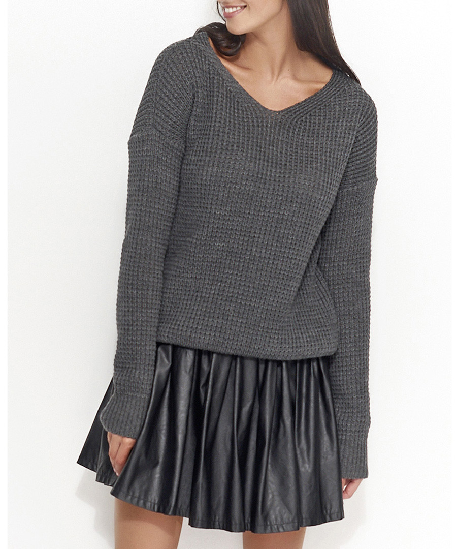 Graphite ribbed knit jumper Sale - numinou