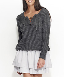 Graphite lace up knit jumper