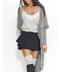 Grey long knit cardigan