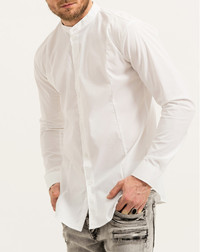 Aaron white cotton blend shirt