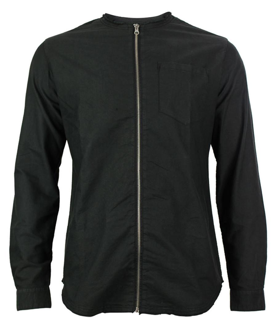 Scott black cotton zip up shirt Sale - true prodigy
