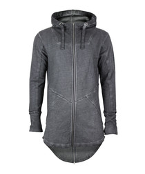 Anthracite pure cotton longline hoodie