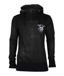 Black pure cotton skull motif hoodie