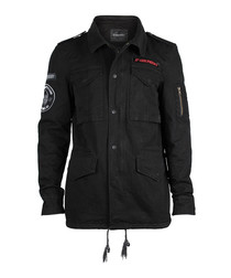Black pure cotton collared jacket
