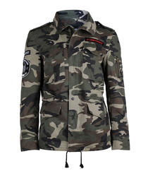 Camouflage pure cotton collared jacket