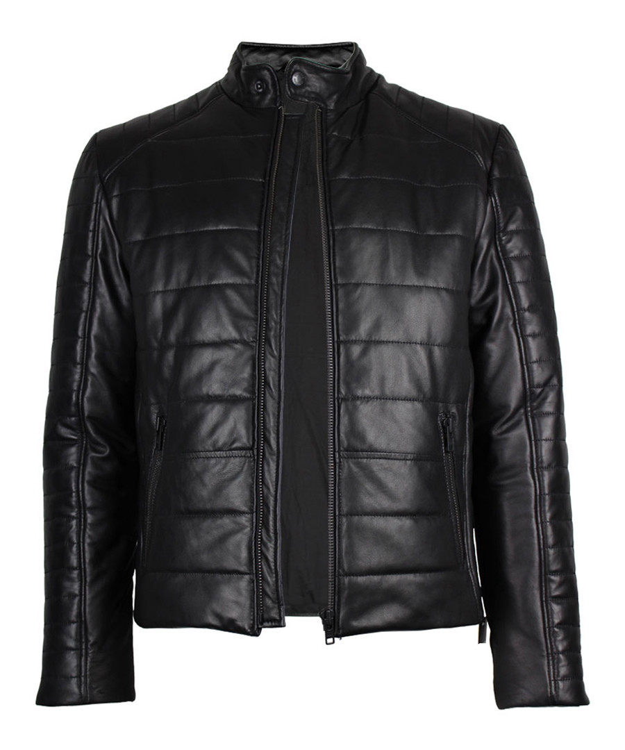 Theo black leather quilted jacket Sale - true prodigy