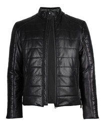 Theo black leather quilted jacket