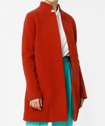 Tawny wool blend button up coat