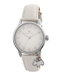 Blair cream & silver-tone leather watch