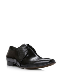 Acid black leather Derby shoes