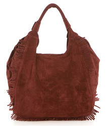 Bordeaux leather tassel detail grab bag