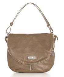 Taupe leather flap over shoulder bag