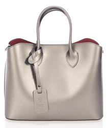 Silver-tone leather boxy grab bag