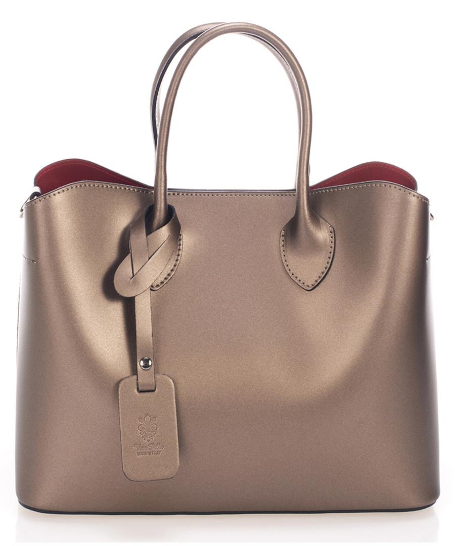 Gold-tone leather boxy grab bag Sale - zoe & noe