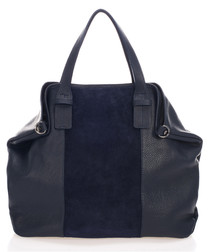 Blue leather two-tone shoulder bag