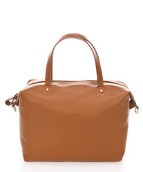 Cognac leather zip up grab bag