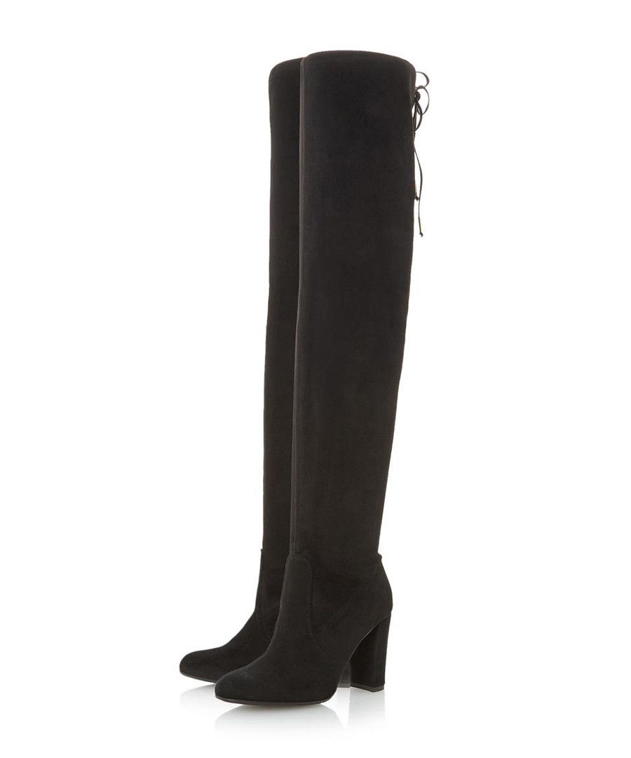 Sybil black suede over-the-knee boots Sale - Dune