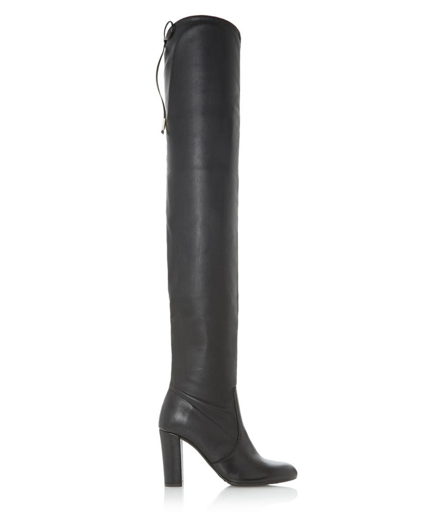 Sybil black leather over-the-knee boots Sale - Dune
