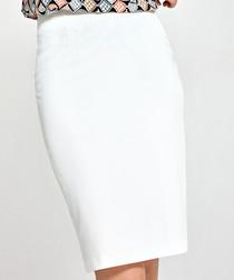 Ecru knee length pencil skirt