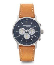 Imola 44 silver-tone & tan leather watch