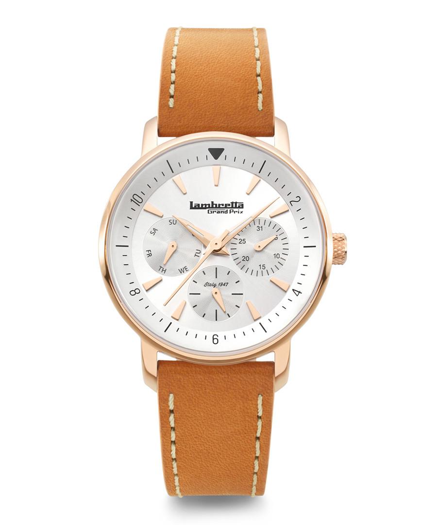 Imola 36 rose gold-tone leather watch Sale - lambretta