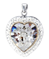 White Swarovski Elements Crystal Heart Pendant and 925/1000 Silver Mounting