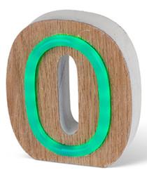 Green LED wood letter O sign