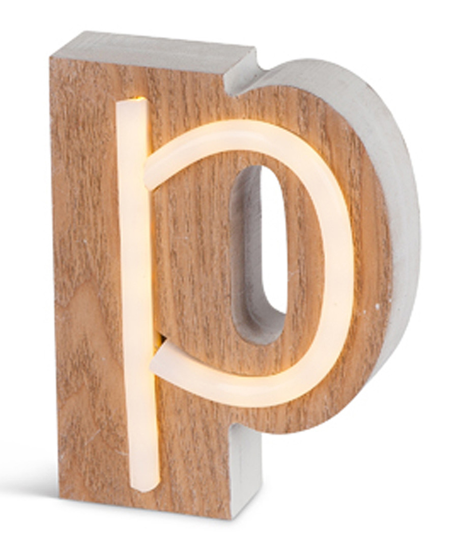 Warm white LED wood letter P sign Sale - Illuminated Art