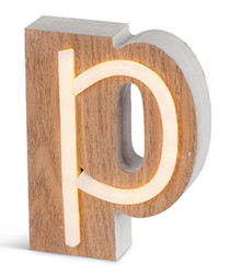 Warm white LED wood letter P sign