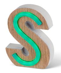 Green LED wood letter S sign